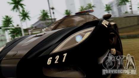 NFS Rivals Koenigsegg Agera R Enforcer для GTA San Andreas вид сзади