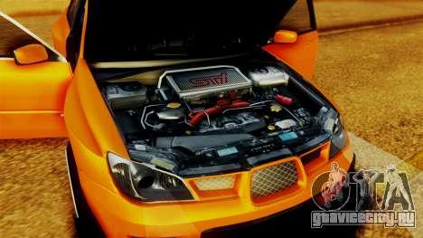 Subaru Impreza для GTA San Andreas вид изнутри
