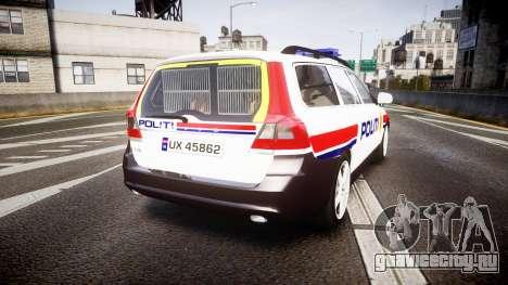 Volvo V70 2014 Norwegian Police [ELS] для GTA 4 вид сзади слева