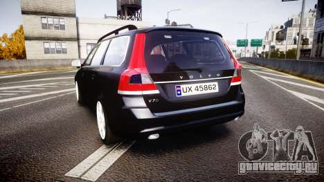 Volvo V70 2014 Unmarked Police [ELS] для GTA 4 вид сзади слева