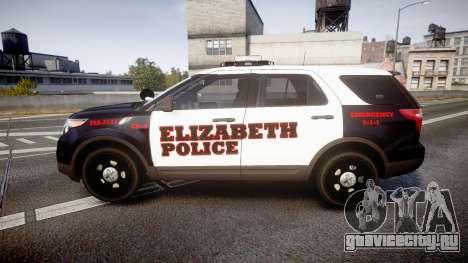 Ford Explorer 2011 Elizabeth Police [ELS] для GTA 4 вид слева