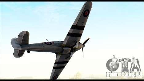 Hawker Hurricane MK IA для GTA San Andreas вид сзади слева