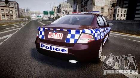 Ford Falcon FG XR6 Turbo NSW Police [ELS] v3.0 для GTA 4 вид сзади слева