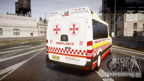 Mercedes-Benz Sprinter NSW Ambulance [ELS] для GTA 4 вид сзади слева