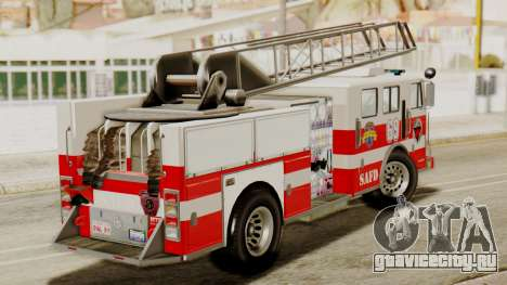 SAFD Fire Lader Truck Flat Shadow для GTA San Andreas вид сзади слева