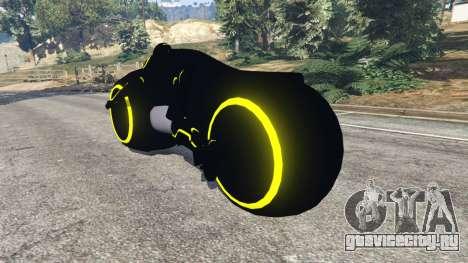 Tron Bike yellow для GTA 5 вид сзади слева