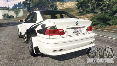 BMW M3 GTR E46 black on white для GTA 5 вид сзади слева