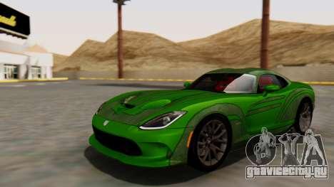 Dodge Viper SRT GTS 2013 HQLM (HQ PJ) для GTA San Andreas вид изнутри