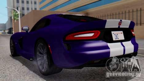 Dodge Viper SRT GTS 2013 HQLM (HQ PJ) для GTA San Andreas вид слева
