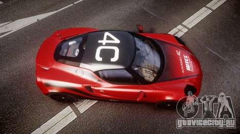 Alfa Romeo 4C 2014 WTCC Safety Car для GTA 4 вид справа