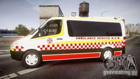 Mercedes-Benz Sprinter NSW Ambulance [ELS] для GTA 4 вид слева
