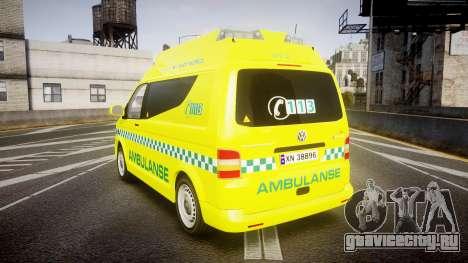 Volkswagen Transporter Norwegian Ambulance [ELS] для GTA 4 вид сзади слева