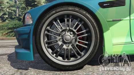 BMW M3 GTR E46 PJ1 для GTA 5 вид сзади справа