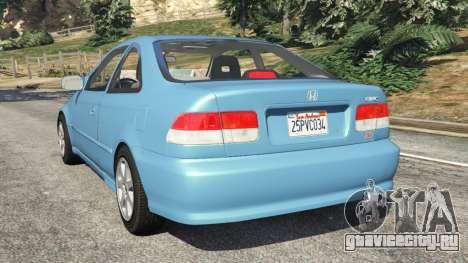 Honda Civic Si 1999 v1.1 для GTA 5 вид сзади слева