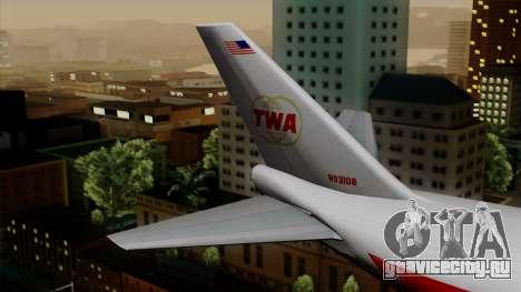 Boeing 747 TWA для GTA San Andreas вид сзади слева