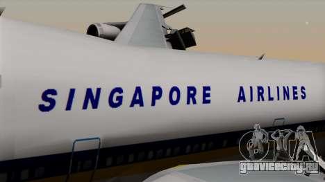 Boeing 747 Singapore (Old) для GTA San Andreas вид сзади