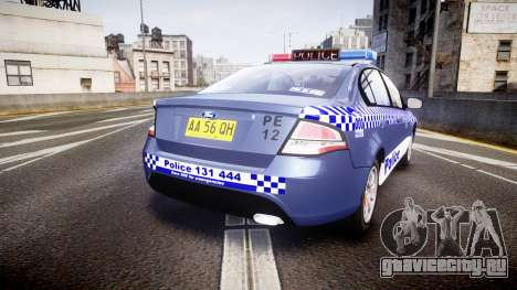 Ford Falcon FG XR6 Turbo NSW Police [ELS] для GTA 4 вид сзади слева