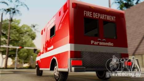 SAFD Ambulance для GTA San Andreas вид сзади слева