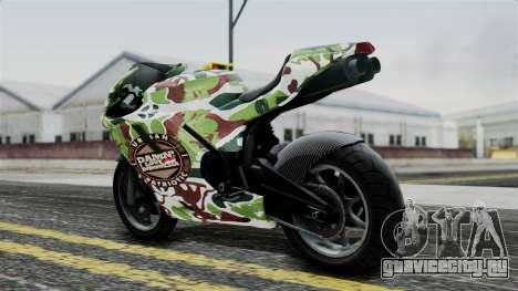 Bati Wayang Camo Motorcycle для GTA San Andreas вид сзади слева