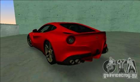 Ferrari F12 Berlinetta для GTA Vice City вид сзади слева