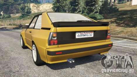 Audi Sport quattro для GTA 5 вид сзади слева