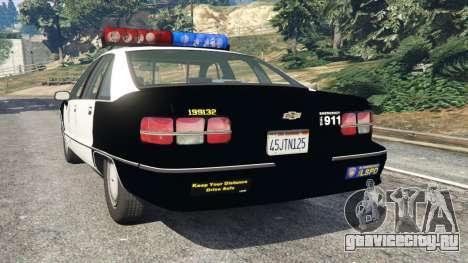 Chevrolet Caprice 1991 LSPD для GTA 5 вид сзади слева