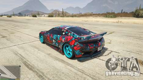 Dinka Jester (Racecar) Sticker Bombing для GTA 5 для GTA 5 вид сзади слева