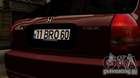 Honda Civic Hatchback B.O. Yapım для GTA San Andreas вид сзади