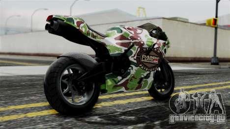 Bati Wayang Camo Motorcycle для GTA San Andreas вид слева