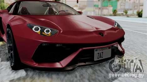 Lamborghini Asterion Concept 2015 v2 для GTA San Andreas вид изнутри