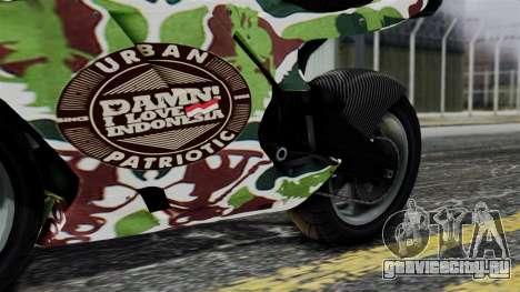 Bati Wayang Camo Motorcycle для GTA San Andreas вид изнутри