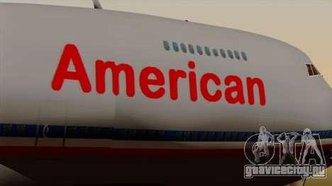 Boeing 747-100 American Airlines для GTA San Andreas вид сзади