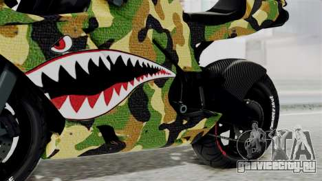 Bati Motorcycle Camo Shark Mouth Edition для GTA San Andreas вид справа