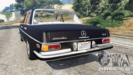 Mercedes-Benz 300SEL 6.3 v1.2.3 для GTA 5 вид сзади слева