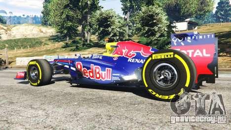 Red Bull RB8 [Себастьян Феттель] для GTA 5 вид сзади справа