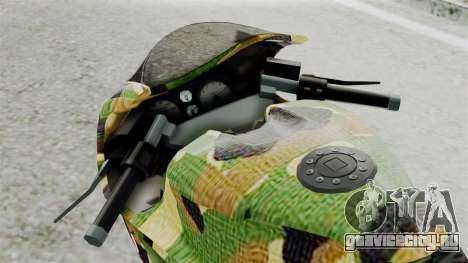 Bati Motorcycle Camo Shark Mouth Edition для GTA San Andreas вид сзади