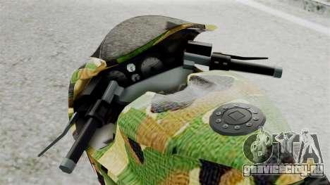 Bati Motorcycle Camo Shark Mouth Edition для GTA San Andreas вид сзади