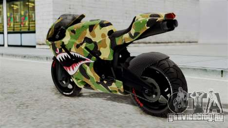 Bati Motorcycle Camo Shark Mouth Edition для GTA San Andreas вид слева