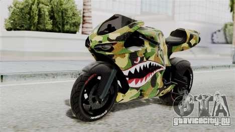 Bati Motorcycle Camo Shark Mouth Edition для GTA San Andreas