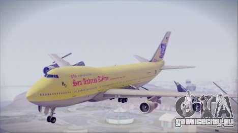 Boeing 747-200 GTA SA Airline для GTA San Andreas вид сзади слева