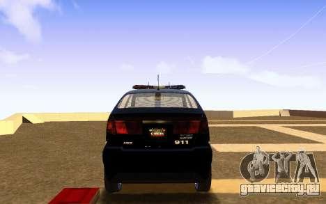 Karin Dilettante Police Car для GTA San Andreas вид сзади слева