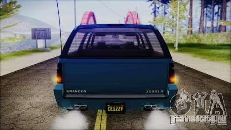 GTA 5 Declasse Granger FIB SUV IVF для GTA San Andreas вид сзади