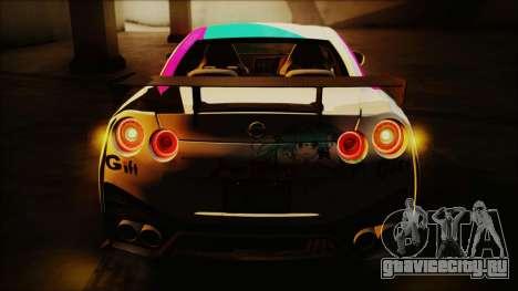 Nissan GT-R Nismo 2015 Itasha Paintjobs для GTA San Andreas вид сзади слева