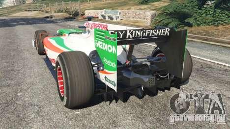 Force India VJM03 для GTA 5 вид сзади слева