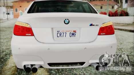 BMW M5 E60 2009 для GTA San Andreas вид снизу
