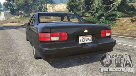 Chevrolet Caprice 1991 v1.2 для GTA 5 вид сзади слева