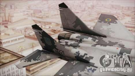 MIG-29 Fulcrum Ukrainian Falcons для GTA San Andreas вид сзади слева