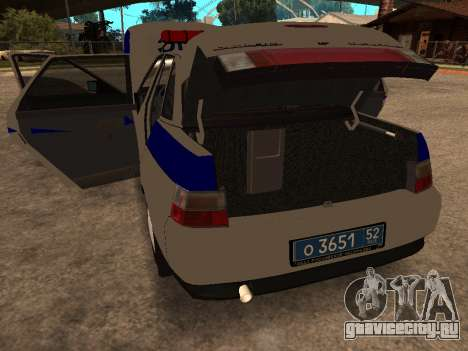 ВАЗ 2110 ДПС для GTA San Andreas вид изнутри