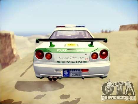 Nissan Skyline Iranian Police для GTA San Andreas вид сзади