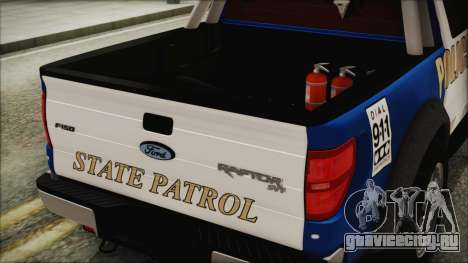 Ford F-150 SVT Raptor 2012 Police Version для GTA San Andreas вид сзади